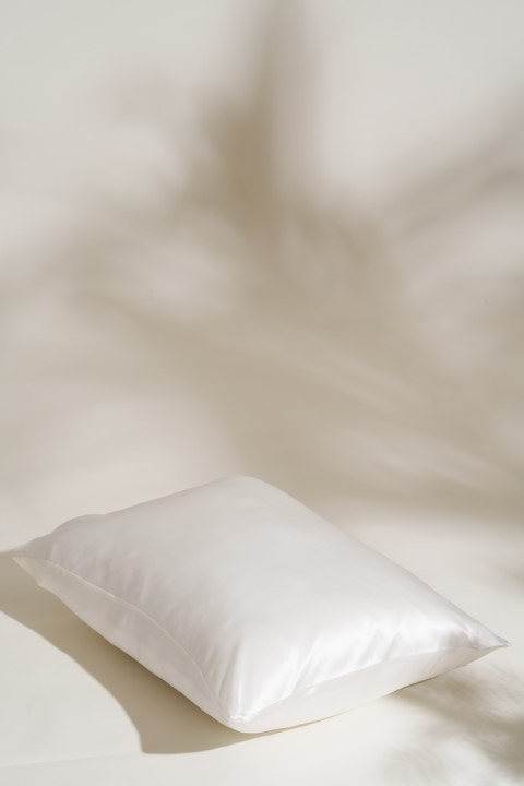 white silk magnolia pillowcase