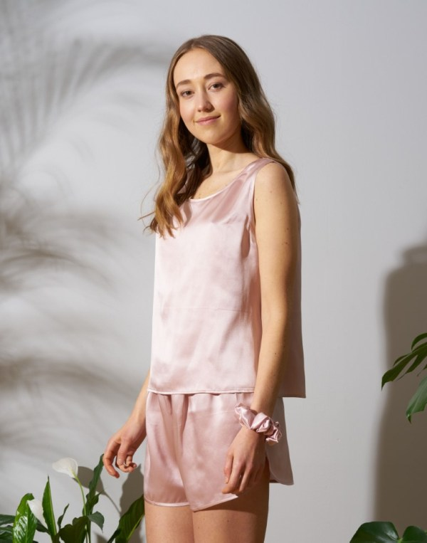 silk pajama dusty pink