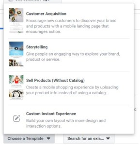 Facebook Instant Experience Templates in Ads Manager