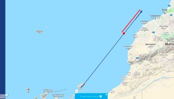 The location where the South Polar Skua was observed: off Safi, Morocco (map by Ricard Gutiérrez / Rare Birds in Spain).