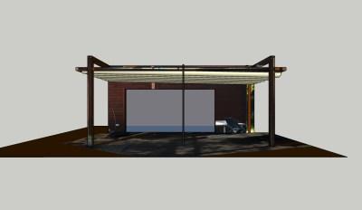 drewniana konstrukcja z ruchomym dachem