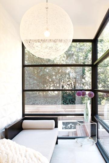 corner black framed windows