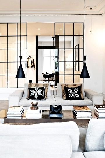 lounge black framed windows