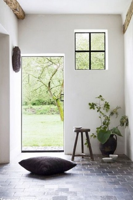 rustic hallway black framed windows