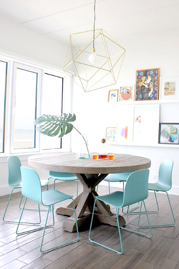 turquoise and yellow dining