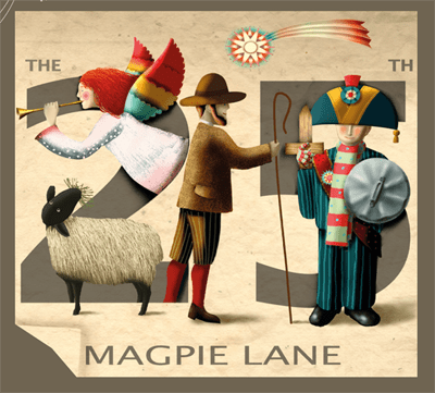 Cover of Magpie Lane CD The 25th. Cover illustration by founder member Tom Bower.