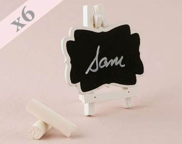 Etsy mini chalkboard easel name place cards via the National Vintage Wedding Fair blog