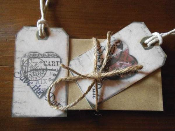 Etsy save the date cards - heart tag cards via National Vintage Wedding Fair blog