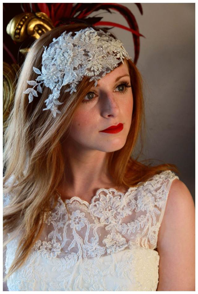 Elsa vintage wedding head piece by Lottie Loves Vintage as featured on The National Vintage Wedding Fair blog