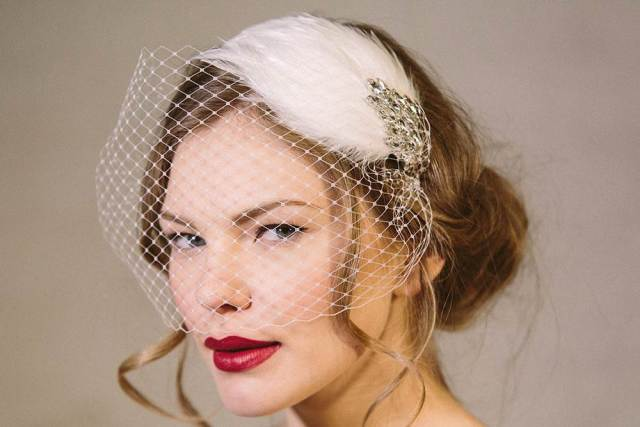 Debbie Carlisle bird cage veil wedding hair accessories as featured on The National Vintage Wedding Fair