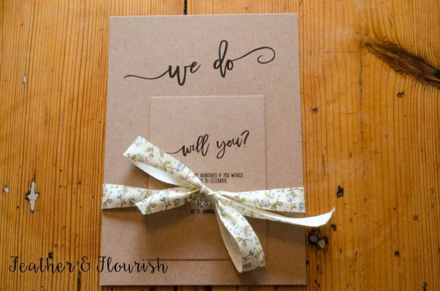 Vintage wedding stationery by Feather and Flourish as featured on the National Vintage Wedding Fair