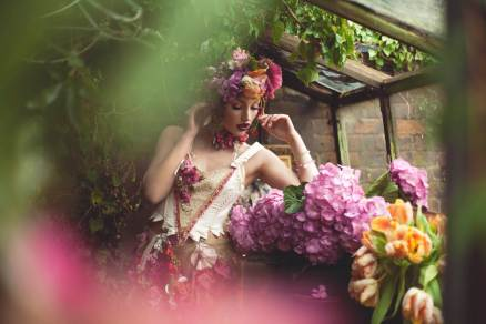 A floral wedding shoot in a potting shed