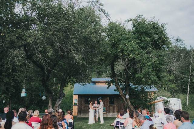 A rustic, home grown, garden party, back yard wedding