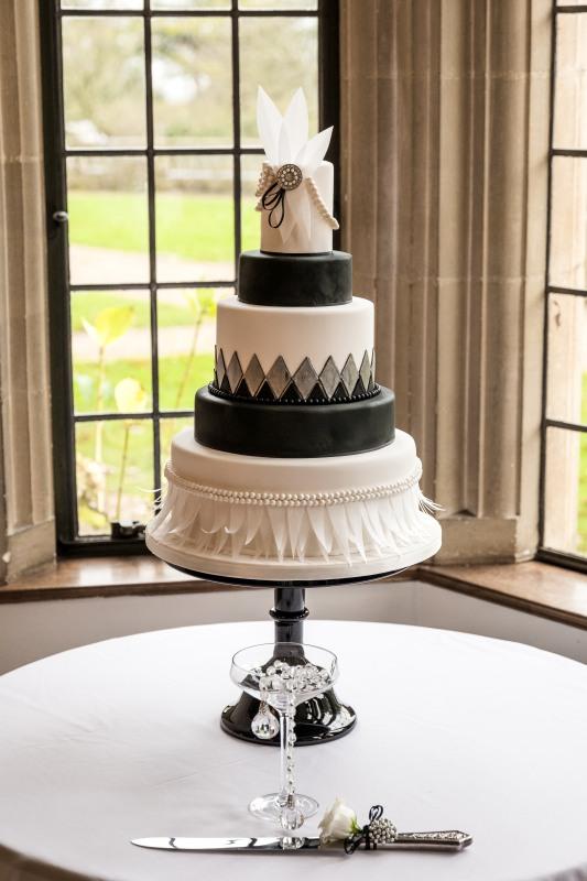 A 1920s vintage style Gatsby Art Deco wedding cake