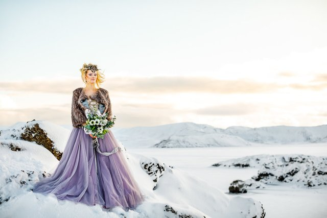 Winter Wedding Wonderland in Iceland with Coloured Bridal Gowns and Regal Headresses