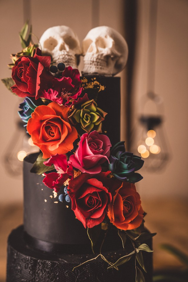 Alternative Gothic Wedding in Whitby with coloured wedding dress and black wedding cake