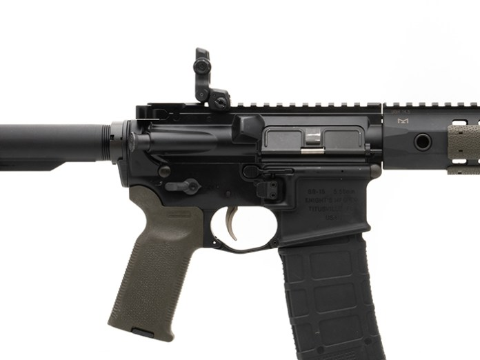 Side view of deployed Magpul MBUS 3 Rear Sight on gun with MOE-K2 Grip showing compact dimensions