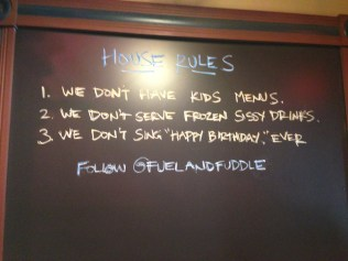 Immediately following the successful proposal presentation, we hit the local lunch establishment. Apparently they've set some ground rules since last I was here.
