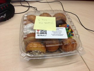 Not to be one-upped by my cubicle neighbor, my friend Matt purchased no fewer than a dozen donuts from the local hippie donut shop. I'll either gain 10 pounds or it'll take me a week to finish these...or both.