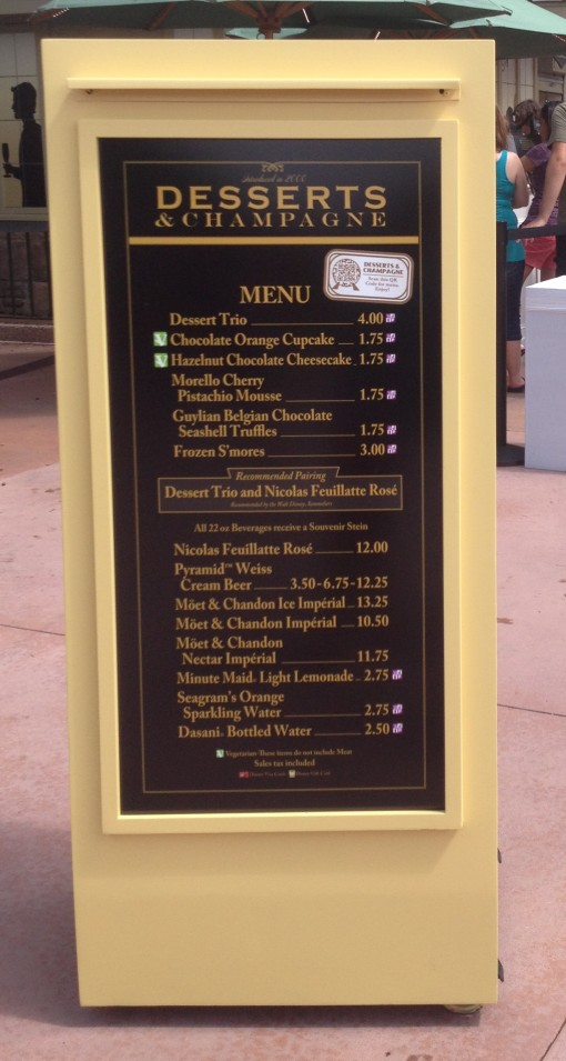 Desserts & Champagne Menu at Epcot