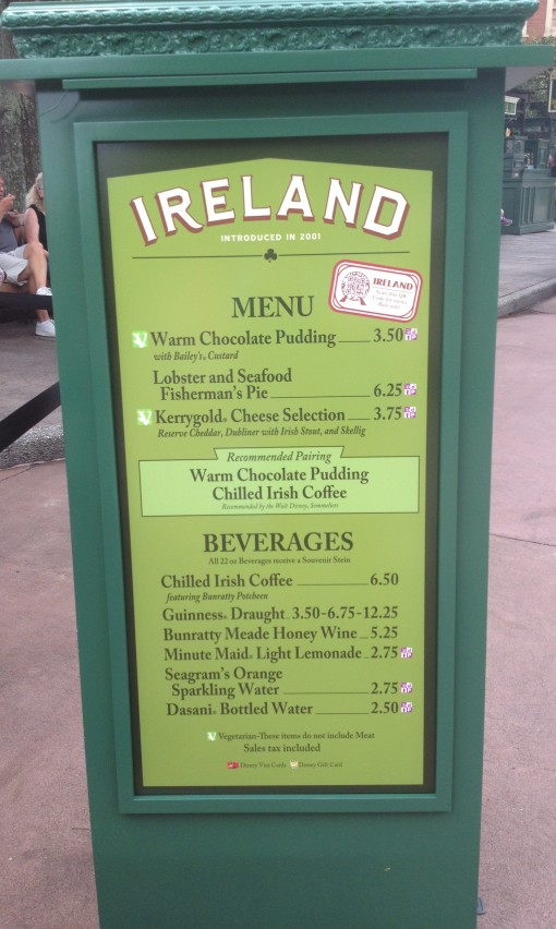 Ireland menu at Epcot's Food and Wine Festival