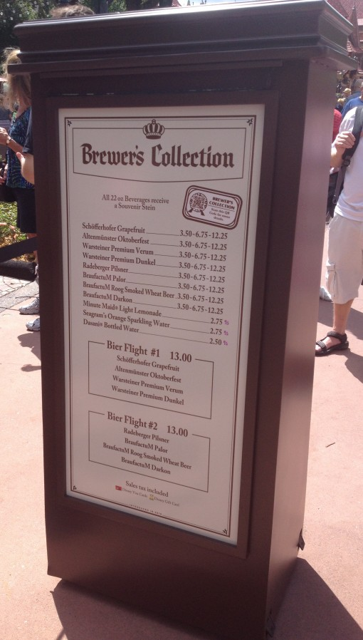 Brewer's Collection menu at the Epcot Food and Wine Festival