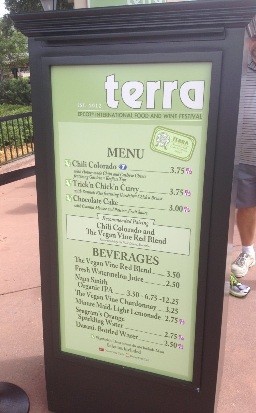 Terra menu at Epcot's Food and Wine Festival