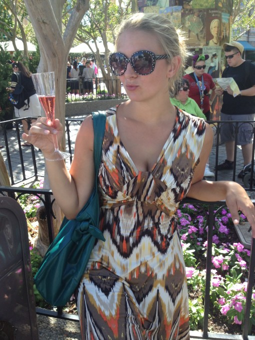 Enjoying some Champagne at Epcot's Food and Wine Festival