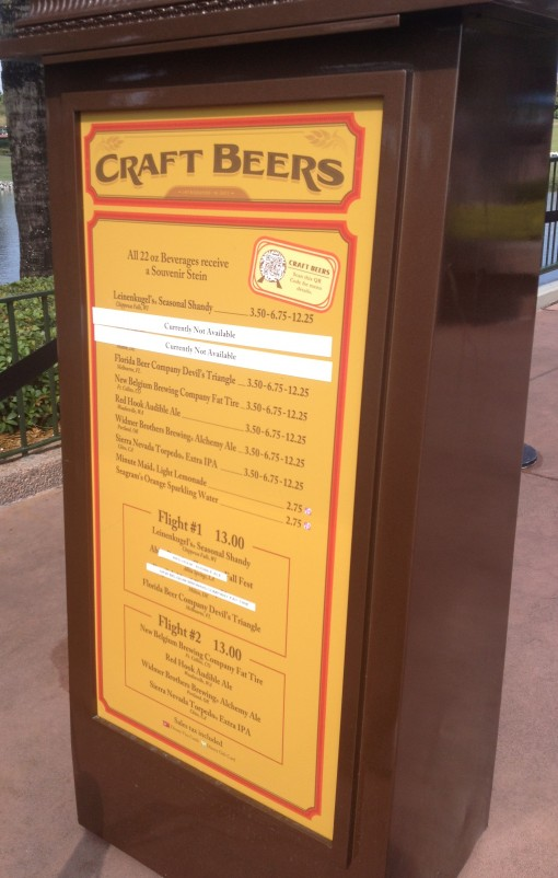 Craft Beers menu at Epcot Food and Wine Festival