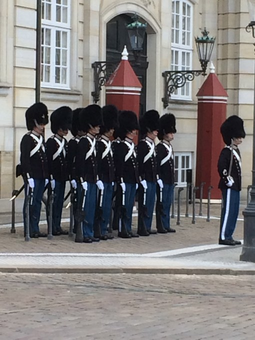 Changing of the guard at Amalienborg in Copenhagen