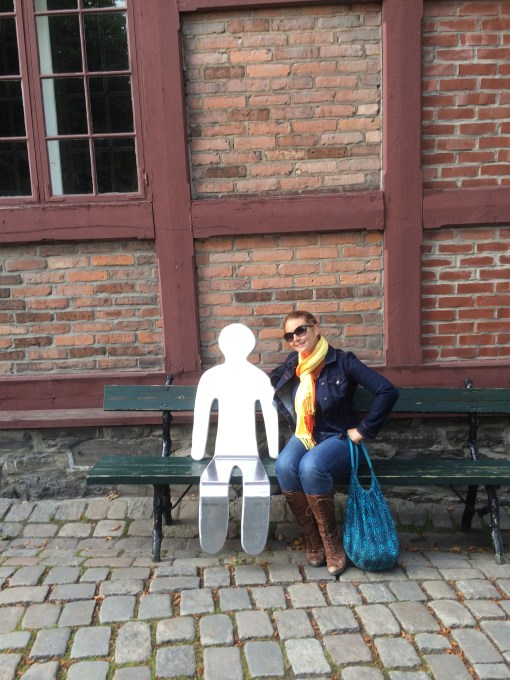 akershus fortress, oslo, norway, sculpture trail, man on bench