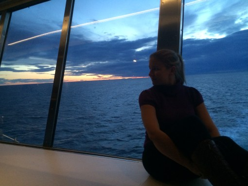 sunset from the Dfds ferry from Oslo to Copenhagen