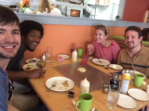 Cook pancakes at your table at the Funky Brunch Cafe in Savannah, GA
