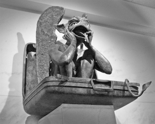 Denver airport gargoyle- photo by Carl Berger