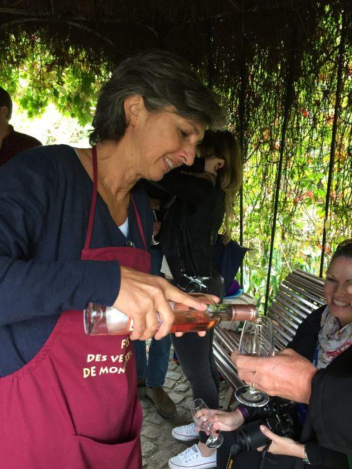 Sampling Rose at the Clos Montmartre vineyard in Paris