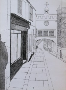 Study of townscape in line, A3, liner pen and carbon pencil