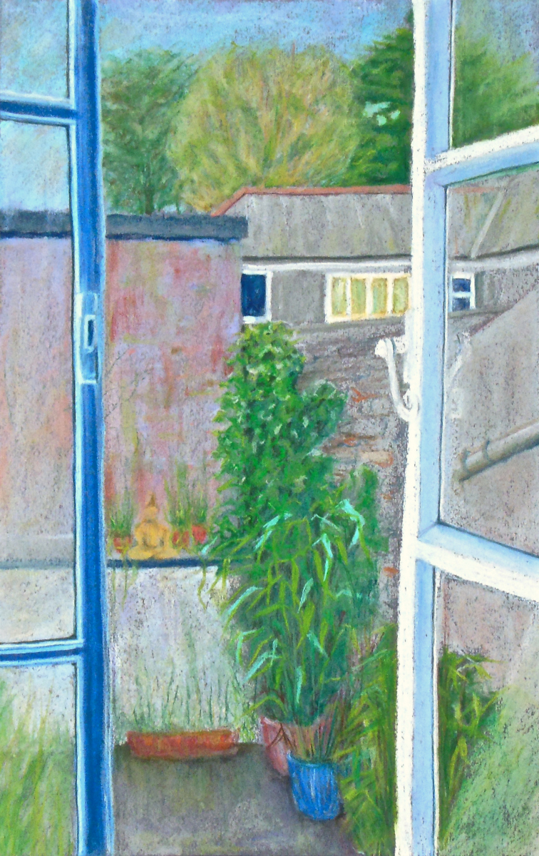 View from a Window, completed assignment 3 drawing, pastels, A2