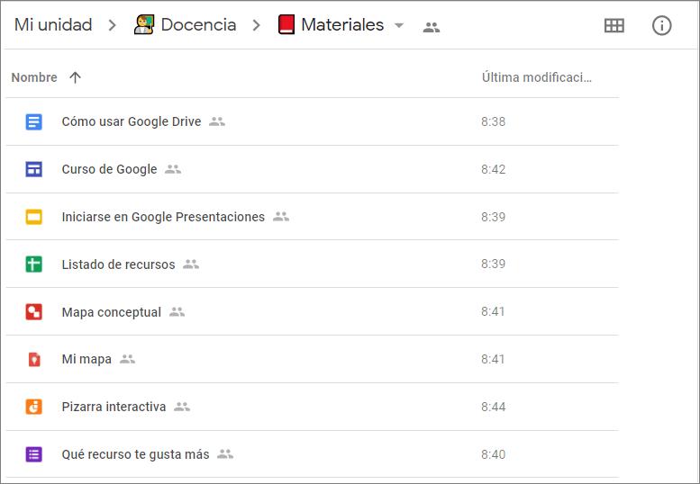 Vista de una carpeta de Google Drive