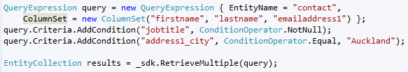 Dynamics CRM 2011 Querying Data with QueryExpression