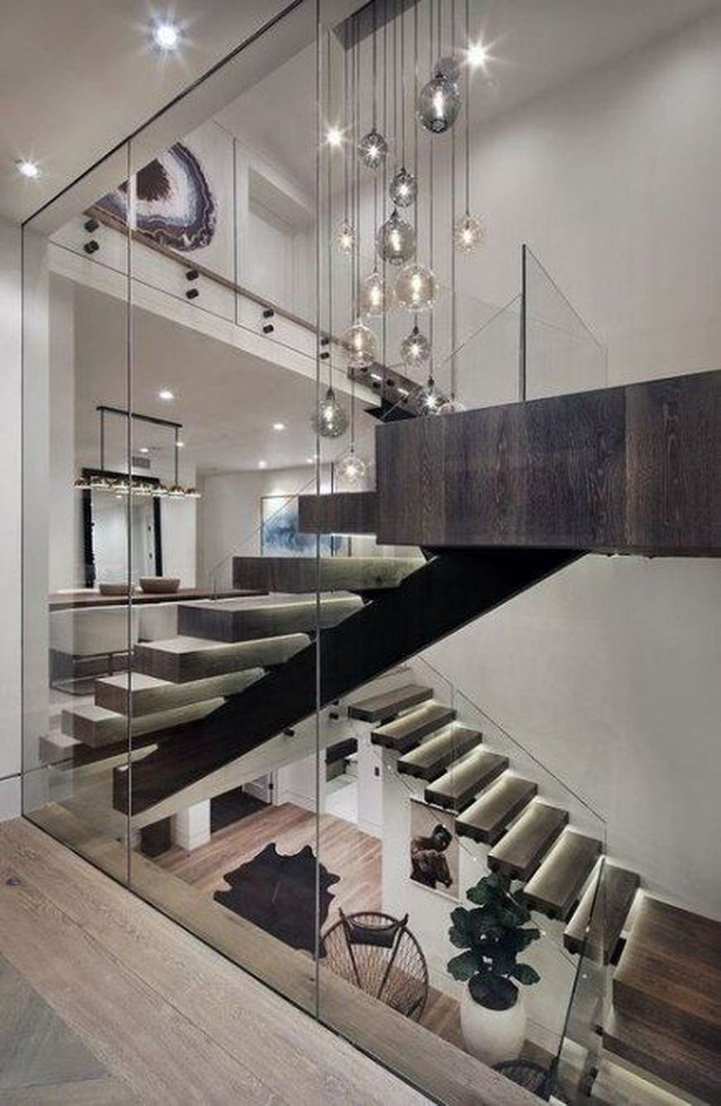Awesome Modern Glass Railings Design Ideas For Stairs 17