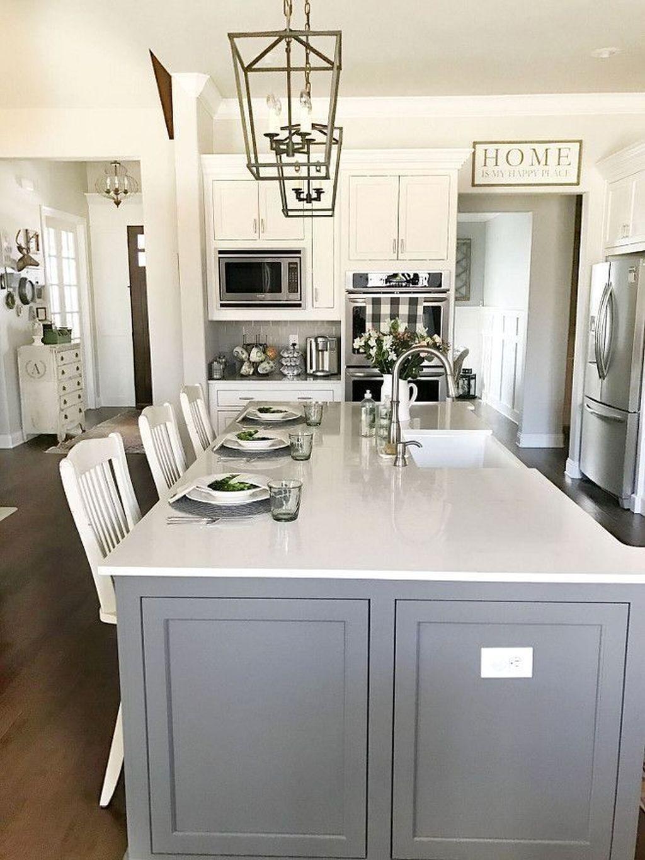 Lovely Grey White Kitchen Design Ideas 22