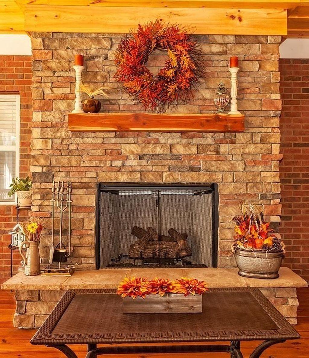 Popular Fall Fireplace Decoration Ideas 15