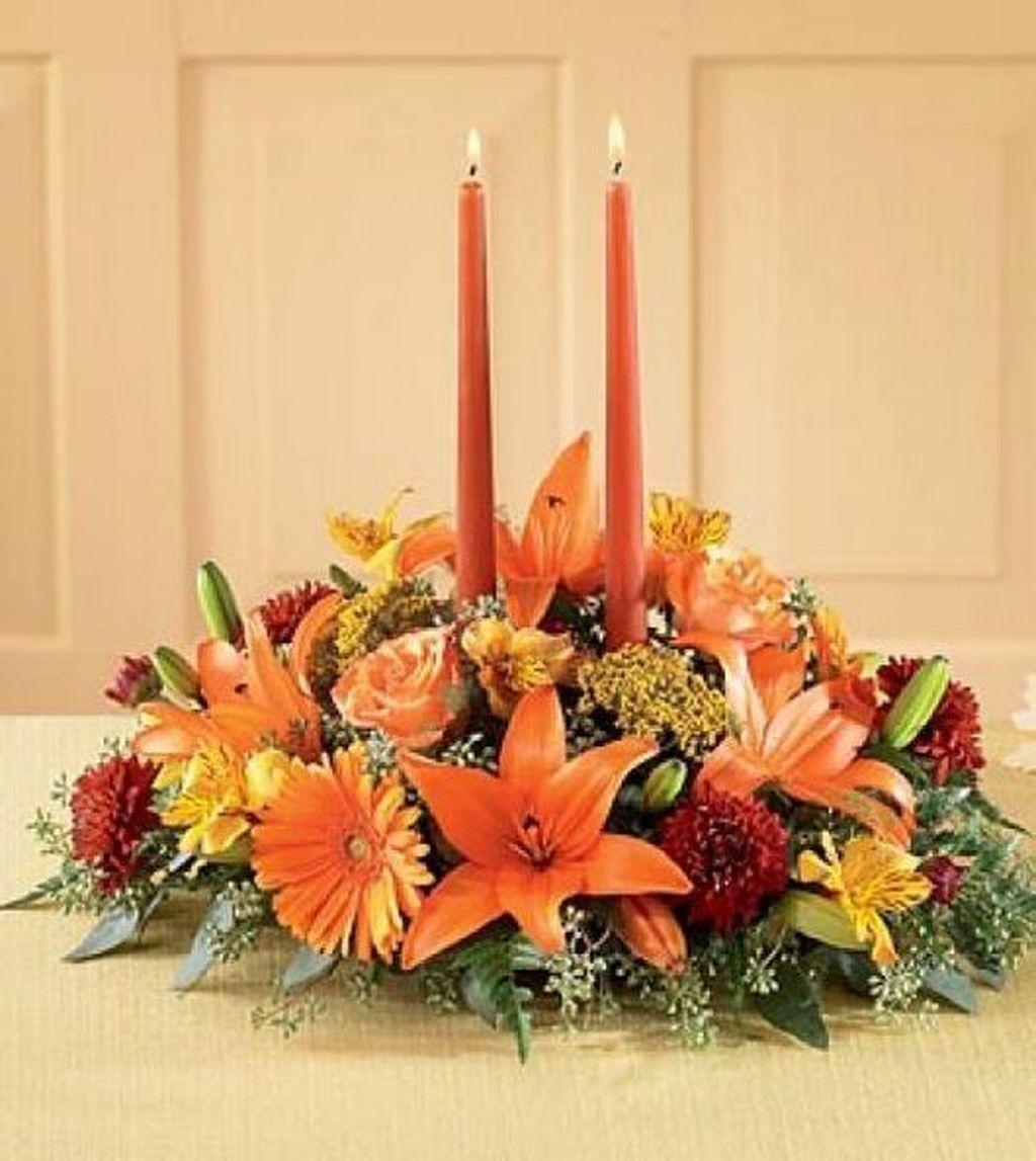 Beautiful Fall Flower Arrangement Design Ideas For Living Room Decor 24