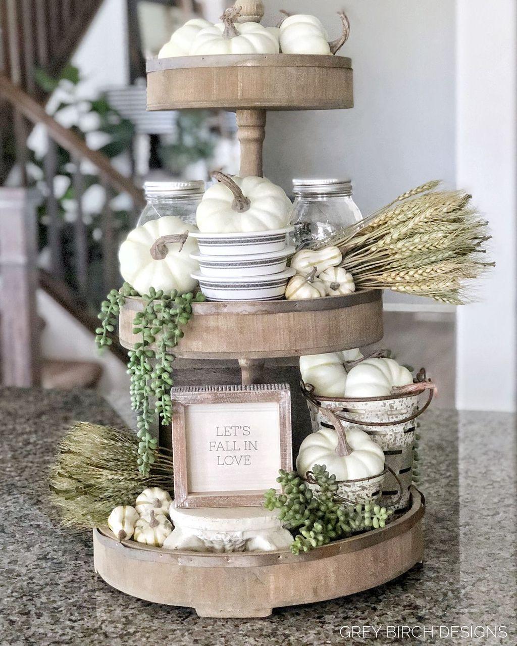 Beautiful Fall Theme Kitchen Island Decor Ideas 03