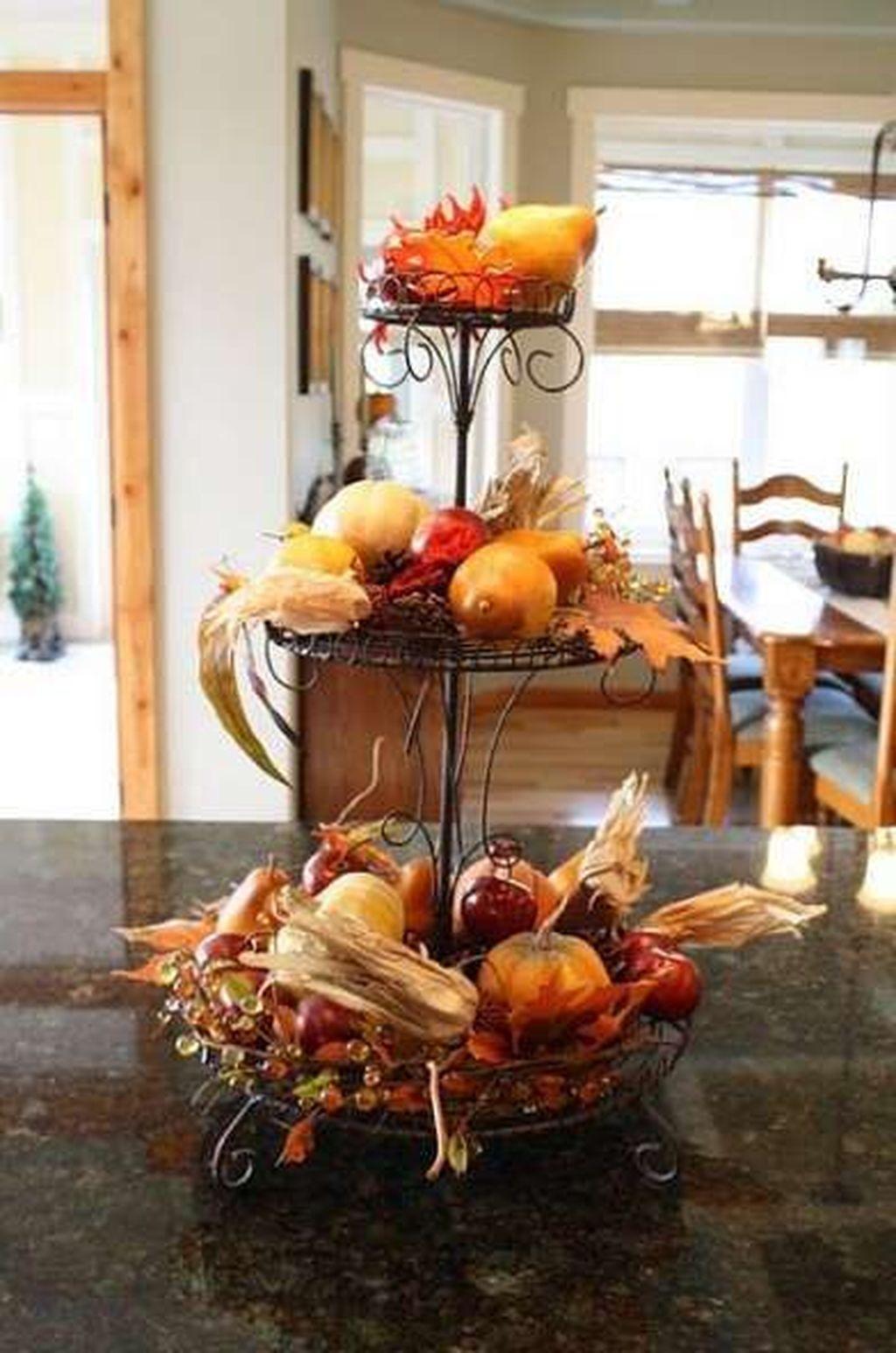 Beautiful Fall Theme Kitchen Island Decor Ideas 08