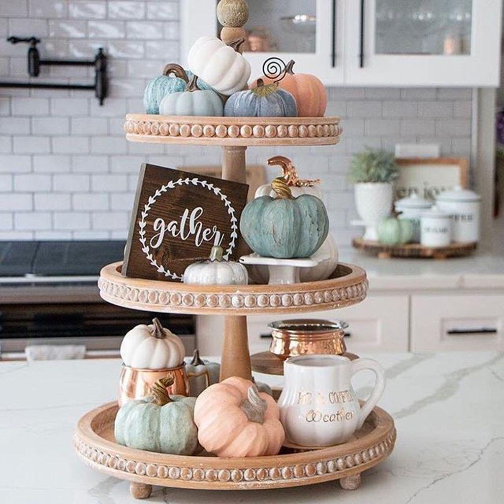 Beautiful Fall Theme Kitchen Island Decor Ideas 15