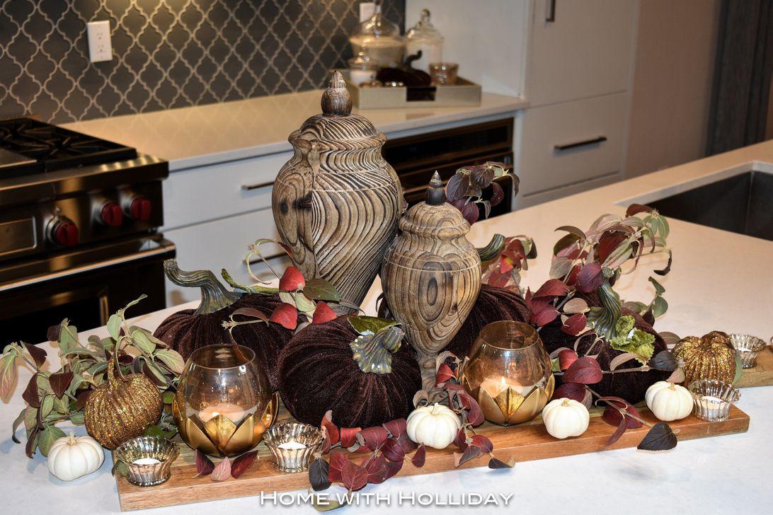 Beautiful Fall Theme Kitchen Island Decor Ideas 22