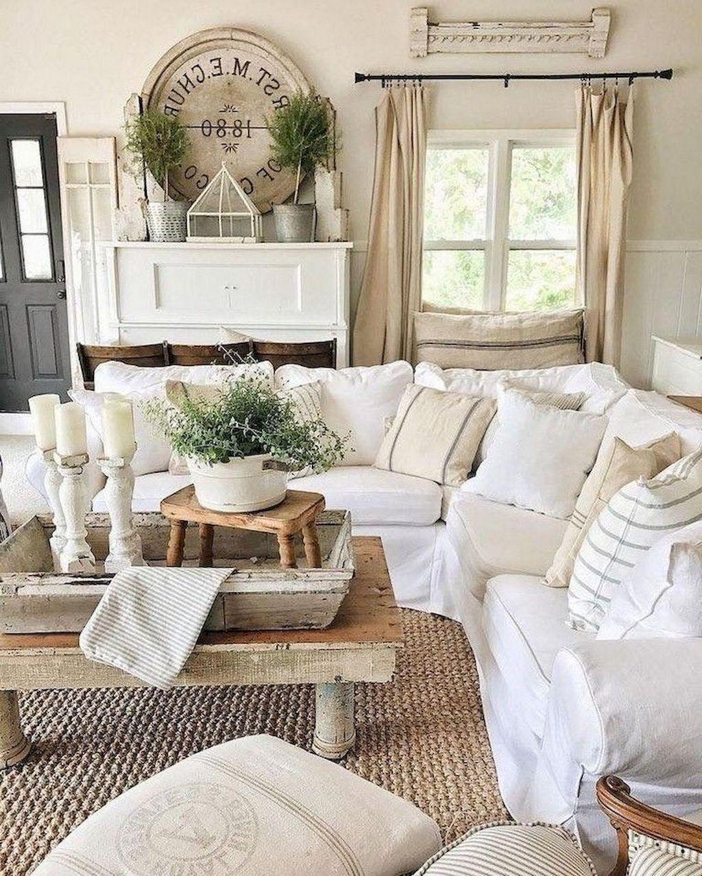Incredible Rustic Farmhouse Living Room Design Ideas 15