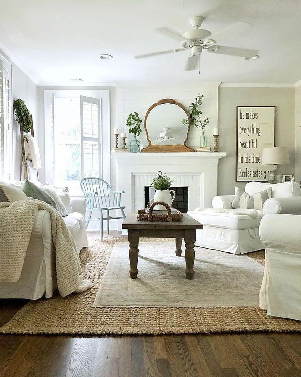 Incredible Rustic Farmhouse Living Room Design Ideas 16