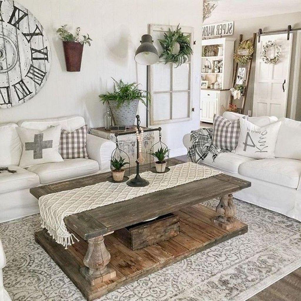 Incredible Rustic Farmhouse Living Room Design Ideas 19